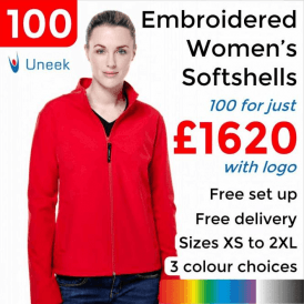 100 x Embroidered Ladies Classic Softshell Jackets £1620