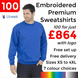 100 x Embroidered Premium Sweatshirt £864