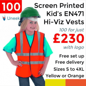 100 x Printed Childrens Hi-Viz Waist Coat £230