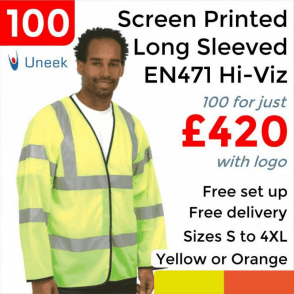 100 x Printed Hi Vis Long Sleeve Safety Waist Coat £420