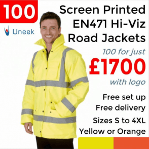 100 x Printed Hi Vis Road Safety Jacket £1700