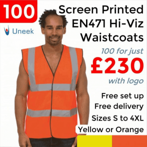100 x Printed Hi Vis Sleeveless Safety Waist Coat £230