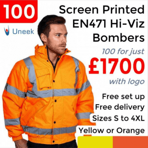 100 x Printed High Visibility Bomber Jacket £1700