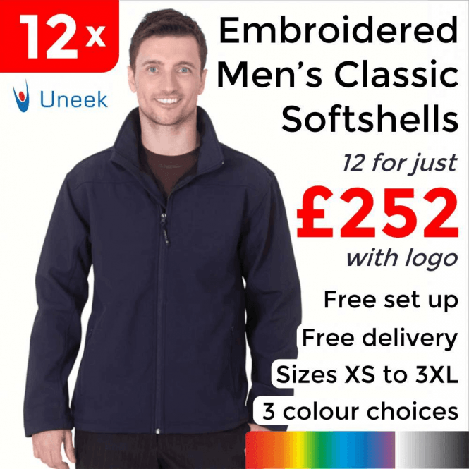 Uneek 12 x Embroidered Classic Full Zip Soft Shell Jackets £252