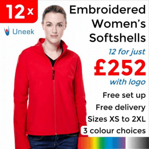 12 x Embroidered Ladies Classic Softshell Jackets £252