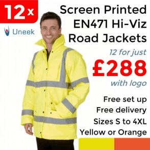 12 x Printed Hi Vis Road Safety Jacket £288
