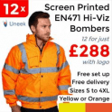 Uneek 12 x Printed High Visibility Bomber Jacket £288