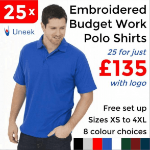 25 x Embroidered Budget Polo Shirts £135
