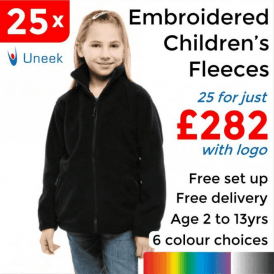 25 x Embroidered Childrens Full Zip Fleece Jacket £282