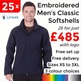 25 x Embroidered Classic Full Zip Soft Shell Jackets £485