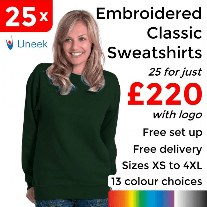 Uneek 25 x Embroidered Classic Sweatshirt £220