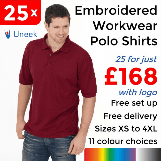 Uneek 25 x Embroidered Essential Poloshirt £168