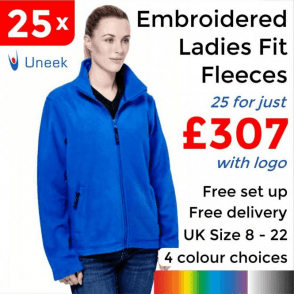 25 x Embroidered Ladies Classic Full Zip Fleece Jacket £307
