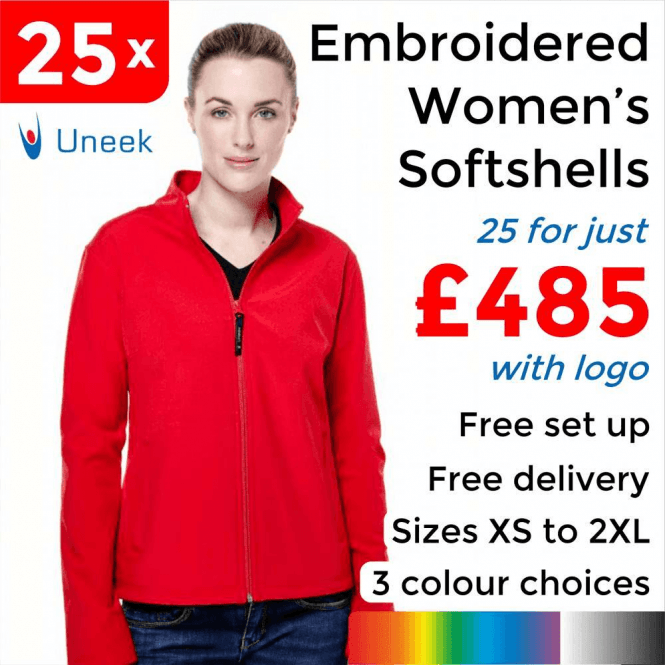 Uneek 25 x Embroidered Ladies Classic Softshell Jackets £485