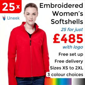 25 x Embroidered Ladies Classic Softshell Jackets £485