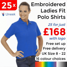 25 x Embroidered Ladies Poloshirt £168