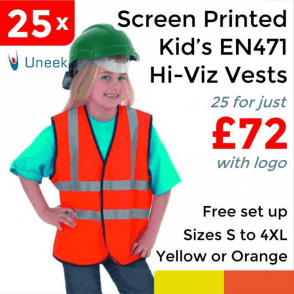 25 x Printed Childrens Hi-Viz Waist Coat £72