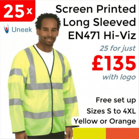 25 x Printed Hi Vis Long Sleeve Safety Waist Coat £135