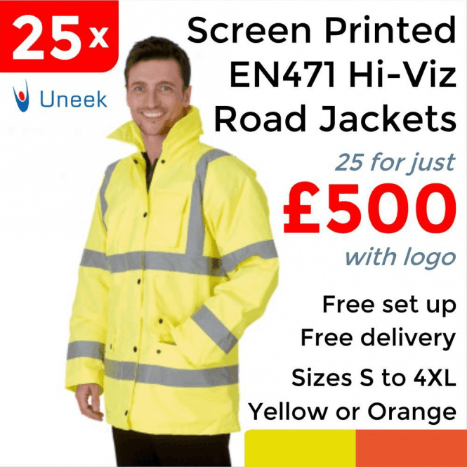 Uneek 25 x Printed Hi Vis Road Safety Jacket £500