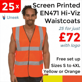 25 x Printed Hi Vis Sleeveless Safety Waist Coat £72