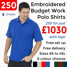 250 x Embroidered Budget Polo Shirts £1030