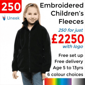 250 x Embroidered Childrens Full Zip Fleece Jacket £2250