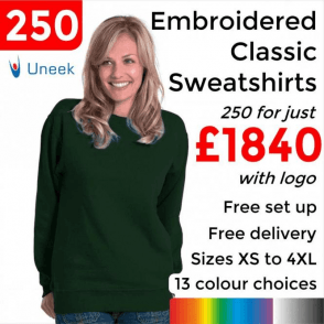 250 x Embroidered Classic Sweatshirt £1840