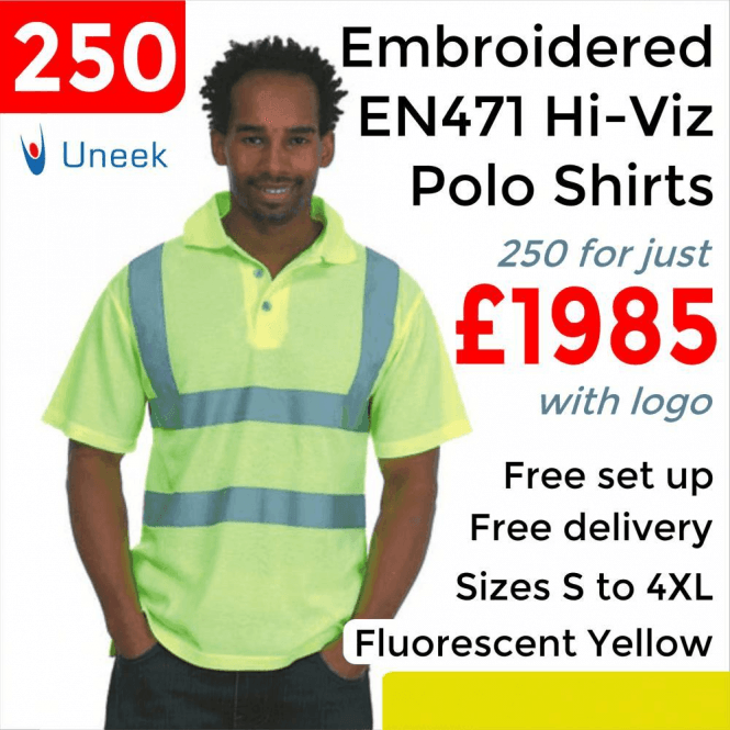 Uneek 250 x Embroidered Hi-Viz Polo Shirt £1985