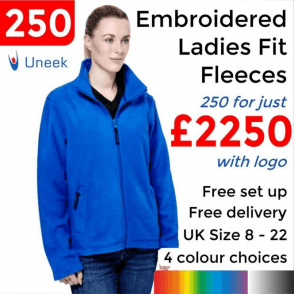 250 x Embroidered Ladies Classic Full Zip Fleece Jacket £2250