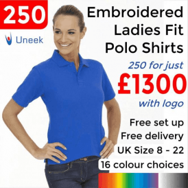 250 x Embroidered Ladies Poloshirt £1300