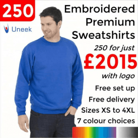 250 x Embroidered Premium Sweatshirt £2015