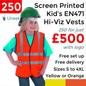 250 x Printed Childrens Hi-Viz Waist Coat £500