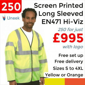 250 x Printed Hi Vis Long Sleeve Safety Waist Coat £995