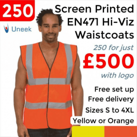 250 x Printed Hi Vis Sleeveless Safety Waist Coat £500