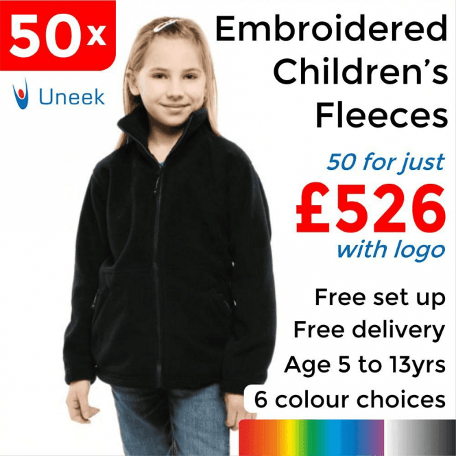 Uneek 50 x Embroidered Childrens Full Zip Fleece Jacket £526