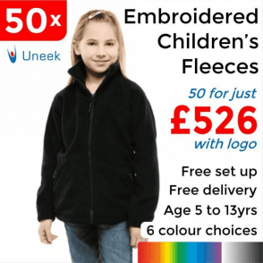 50 x Embroidered Childrens Full Zip Fleece Jacket £526