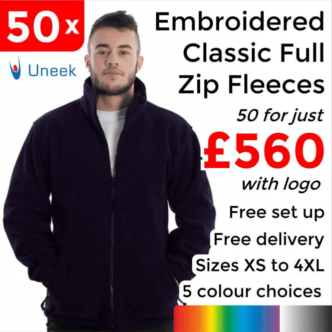 Uneek 50 x Embroidered Classic Full Zip Fleece Jacket £560