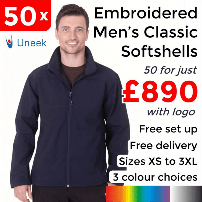 Uneek 50 x Embroidered Classic Full Zip Soft Shell Jackets £890