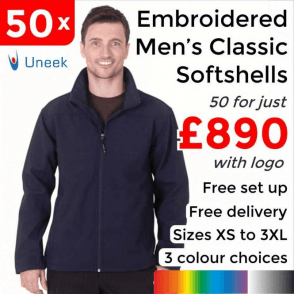 50 x Embroidered Classic Full Zip Soft Shell Jackets £890