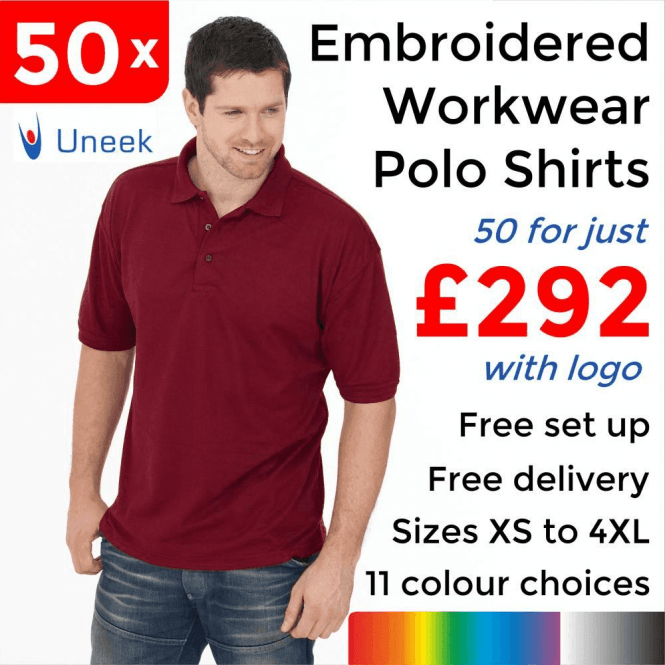 Uneek 50 x Embroidered Essential Poloshirt £292