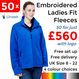 50 x Embroidered Ladies Classic Full Zip Fleece Jacket £560