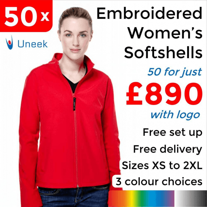 Uneek 50 x Embroidered Ladies Classic Softshell Jackets £890