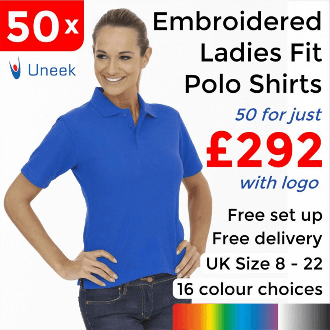 Uneek 50 x Embroidered Ladies Poloshirt £292