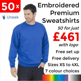 50 x Embroidered Premium Sweatshirt £461