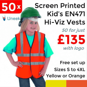 50 x Printed Childrens Hi-Viz Waist Coat £135