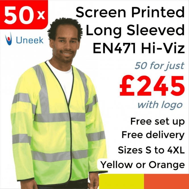 Uneek 50 x Printed Hi Vis Long Sleeve Safety Waist Coat £245