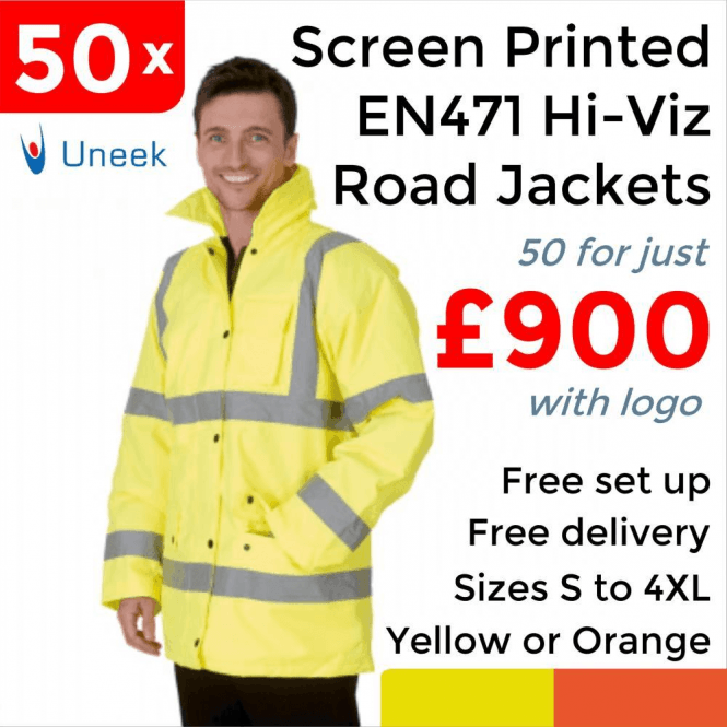 Uneek 50 x Printed Hi Vis Road Safety Jacket £900
