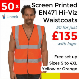 50 x Printed Hi Vis Sleeveless Safety Waist Coat £135