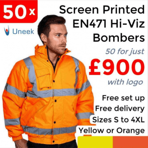 50 x Printed High Visibility Bomber Jacket £900