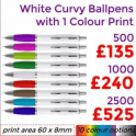 White Curvy Ballpen With Single Colour Print